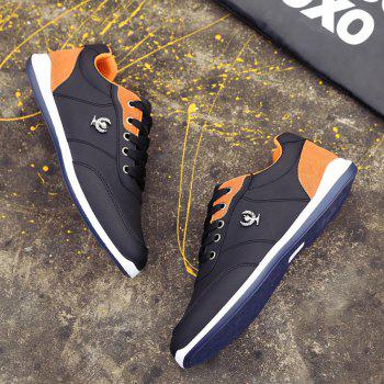 Men's Fashion Splicing and PU Leather Design Casual Shoes - BLACK 44