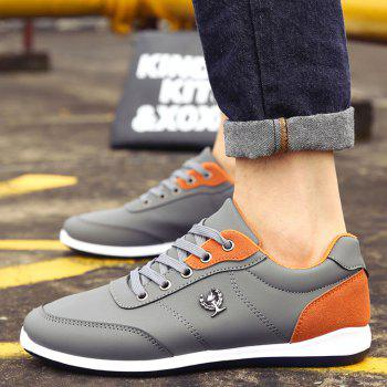 Men's Fashion Splicing and PU Leather Design Casual Shoes - GRAY 40