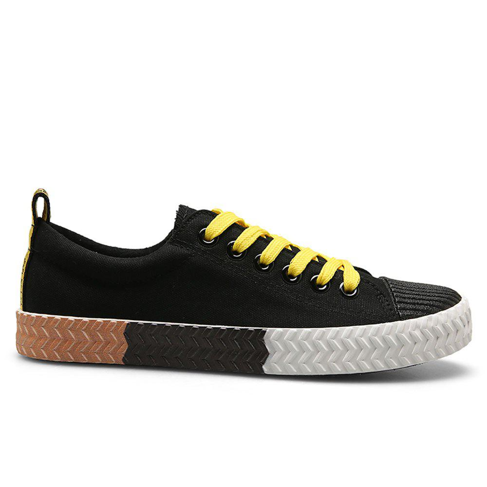 Flat Heel Contrast Trim Student Casual Canvas Sneakers - BLACK 44