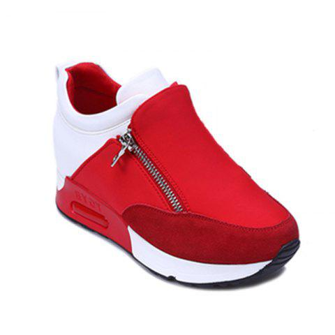 Round Head Thick Bottom Side Zipper Inside Lift Shoes - RED 38