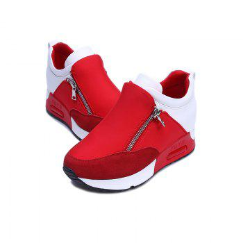 Round Head Thick Bottom Side Zipper Inside Lift Shoes - RED 39
