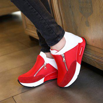 Round Head Thick Bottom Side Zipper Inside Lift Shoes - RED 40