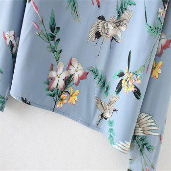 New Lady's Loose Fairy Crane Printed Round Collar Shirt - BLUE L
