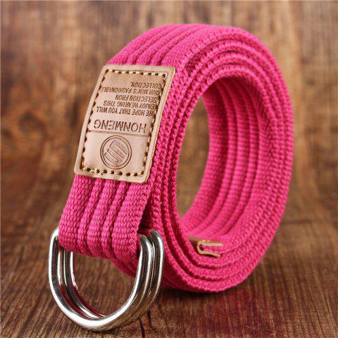 Double loop belt and outdoor leisure cloth belt for young students all-match Fashion Jeans Belt - ROSE RED