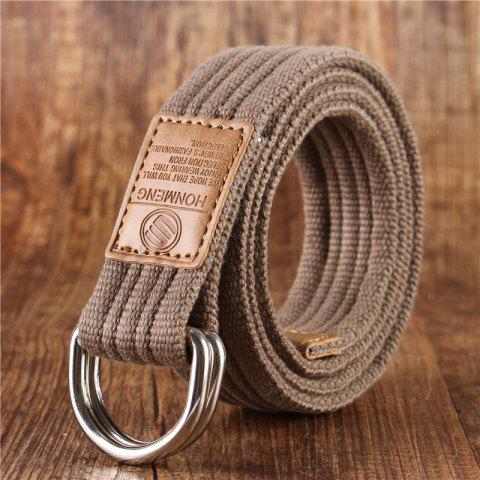 Double loop belt and outdoor leisure cloth belt for young students all-match Fashion Jeans Belt - DARK KHAKI