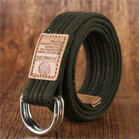 Double loop belt and outdoor leisure cloth belt for young students all-match Fashion Jeans Belt - ARMY GREEN