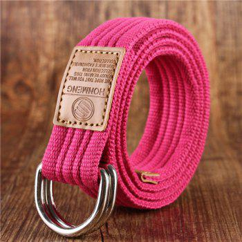 Double loop canvas belt and outdoor leisure cloth belt for young students all-match Fashion Jeans Belt - ROSE RED ROSE RED