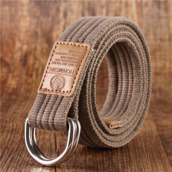 Double loop canvas belt and outdoor leisure cloth belt for young students all-match Fashion Jeans Belt - DARK KHAKI DARK KHAKI