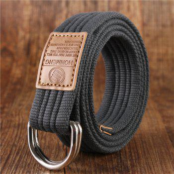 Double loop canvas belt and outdoor leisure cloth belt for young students all-match Fashion Jeans Belt - GREY GREY