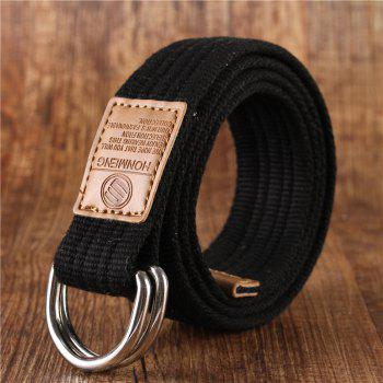 Double loop canvas belt and outdoor leisure cloth belt for young students all-match Fashion Jeans Belt - BLACK BLACK