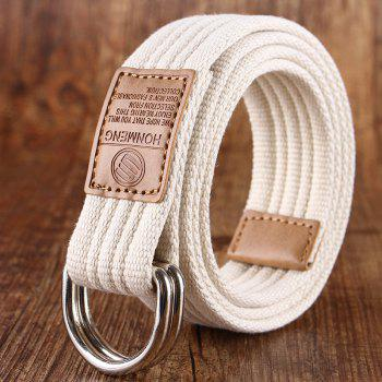 Double loop canvas belt and outdoor leisure cloth belt for young students all-match Fashion Jeans Belt - WHITE WHITE