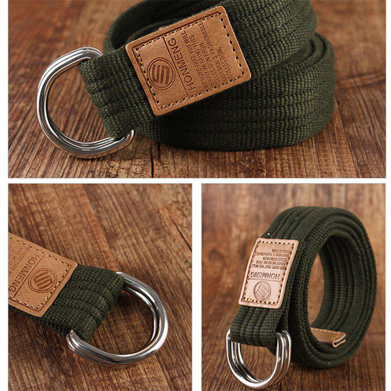 Double loop canvas belt and outdoor leisure cloth belt for young students all-match Fashion Jeans Belt - ARMY GREEN