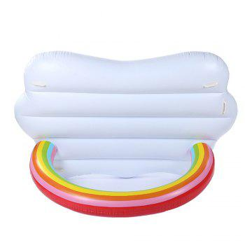 Inflatable Rainbow Bridge Pool Lounger Swimming Floating Float Bed and Electric Charge Pump -  WHITE