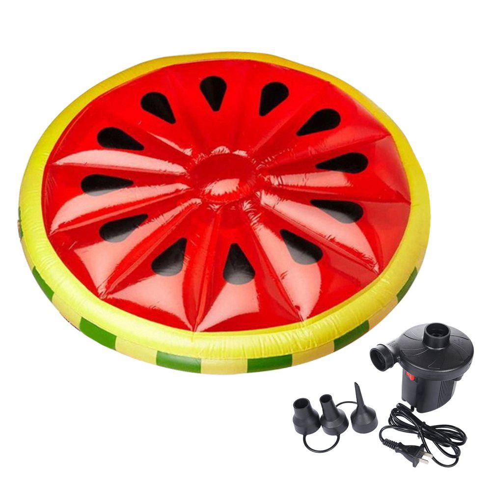 Inflatable Watermelon Pool Lounger Swimming Floating Float Bed and Electric Charge Pump - RED