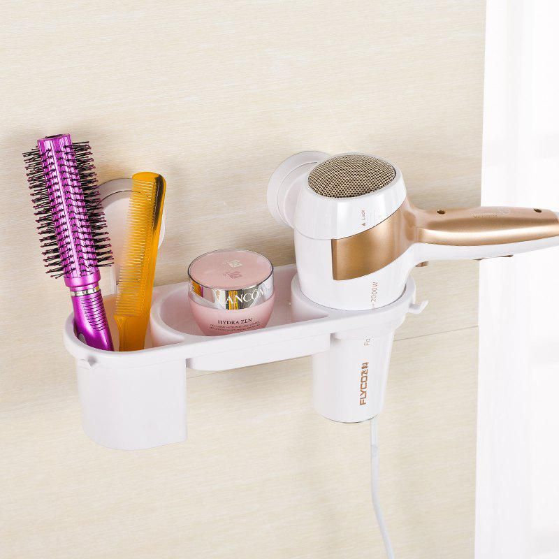 Plastic Storage Rack Holder Kitchen Rack Bathroom Wall Storage Rack Electric Hair Plywood Comb Hair Dryer Holder - WHITE