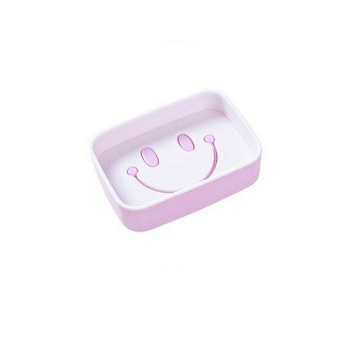 1PCS Plastic Double Layer Soap Box Smile Face dish Bathroom Shower Container Storage - PURPLE