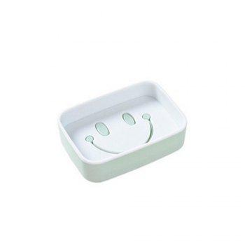 1PCS Plastic Double Layer Soap Box Smile Face dish Bathroom Shower Container Storage - GREEN GREEN