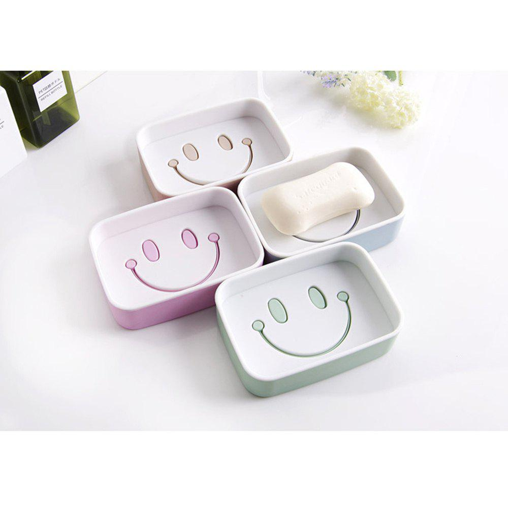 1PCS Plastic Double Layer Soap Box Smile Face dish Bathroom Shower Container Storage - GREEN