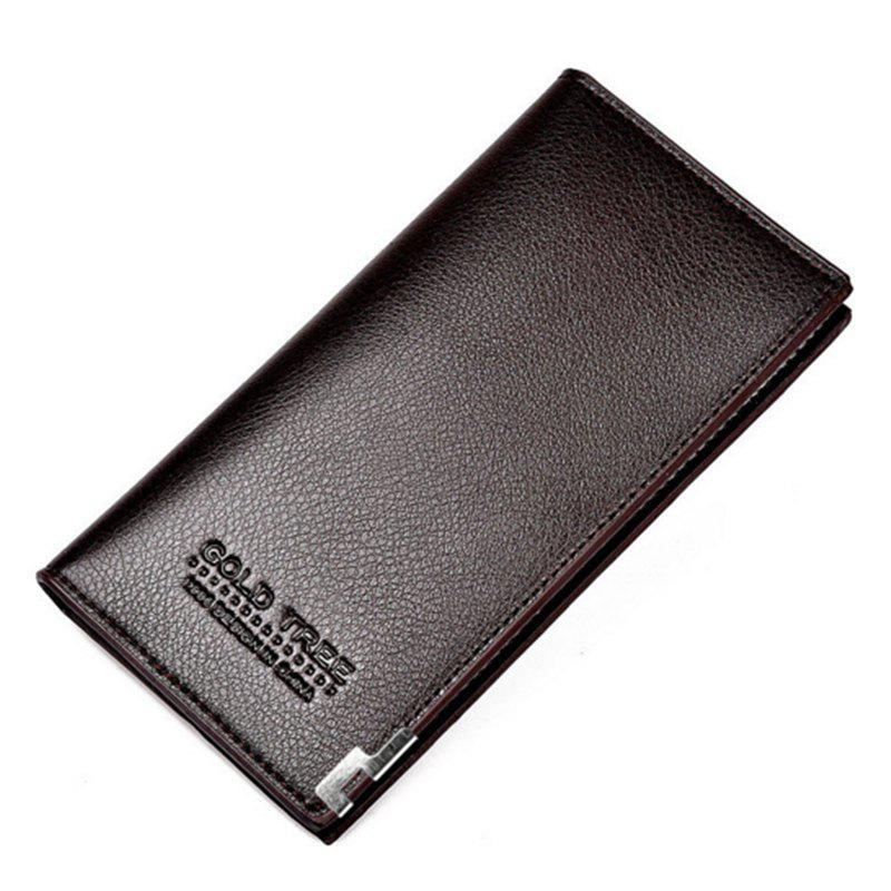 Business Card Holder Pu Leather Men Wallets - BROWN D STYLE