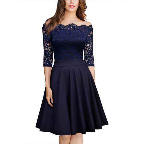 Sexy Lace Off Shoulder Large Casual Dress - CADETBLUE 2XL