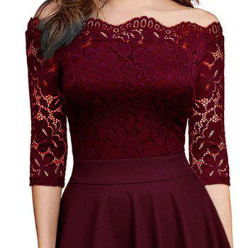 Sexy Lace Off Shoulder Large Casual Dress - WINE RED S