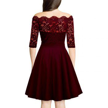 Sexy Lace Off Shoulder Large Casual Dress - WINE RED L
