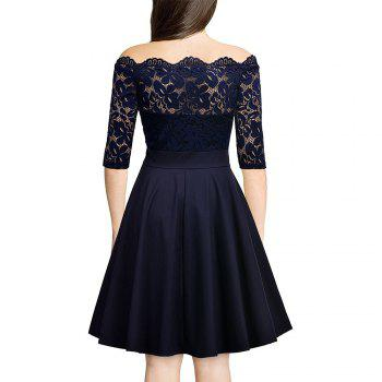 Sexy Lace Off Shoulder Large Casual Dress - CADETBLUE M