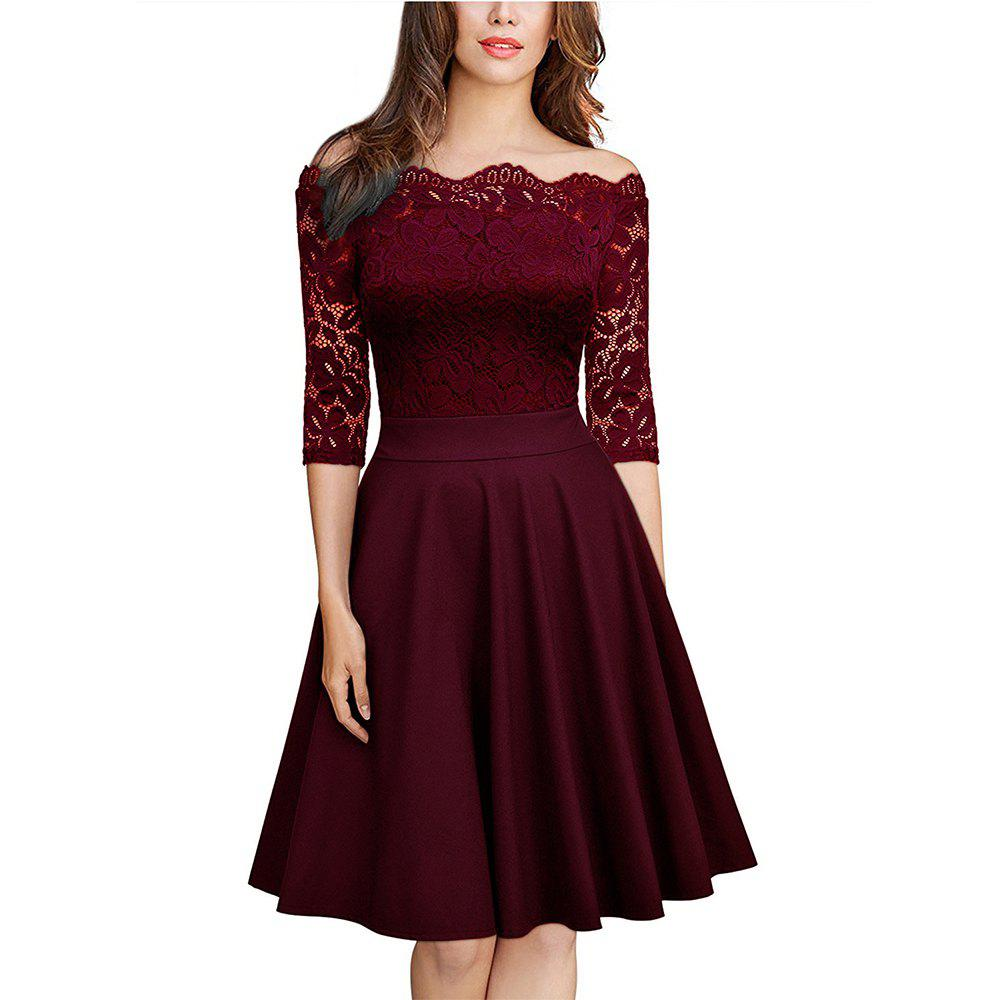 Sexy Lace Off Shoulder Large Casual Dress - WINE RED M