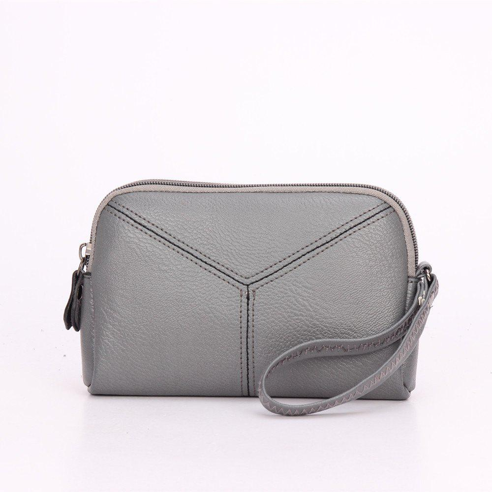 Women Wristlets bag matual function small Bag  Wrist Dumpling Envelope Bag - GRAY