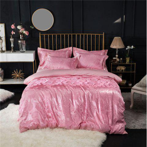 2018 New Bedding Sets Full Queen Size Cotton Satin Jacquard Duvet Cover Set HYAR-F - PINK QUEEN