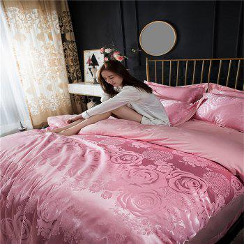 2018 New Bedding Sets Full Queen Size Cotton Satin Jacquard Duvet Cover Set HYAR-F - PINK FULL