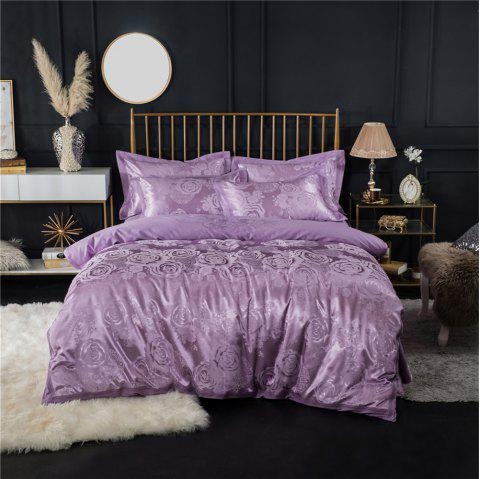 2018 New Bedding sets full queen size cotton satin jacquard duvet cover set HYAR-XQ - PURPLE FULL