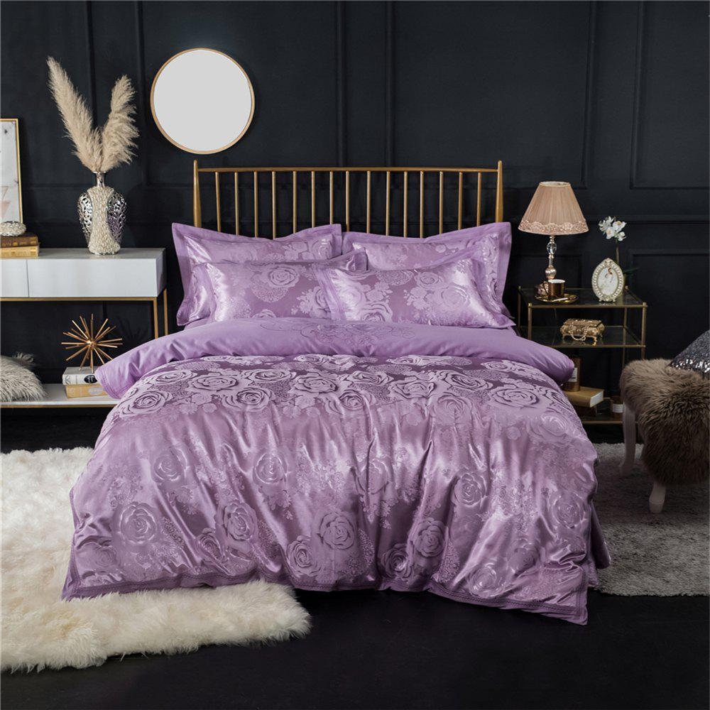 2018 New Bedding sets full queen size cotton satin jacquard duvet cover set HYAR-XQ - PURPLE QUEEN