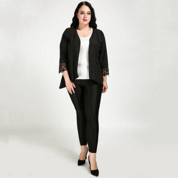 Cute Ann Women's Sexy Quarters Sleeve Lace Patchwork Open Front Plus Size Casual Cardigan - BLACK 5XL