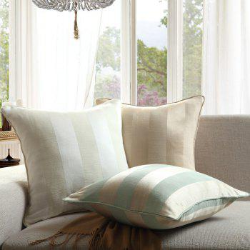 GyroHome Pack of 2 Cotton Jacquard Strips Cushion Covers  Pillow Three Colors 18 X 18 Inches -  WHITE