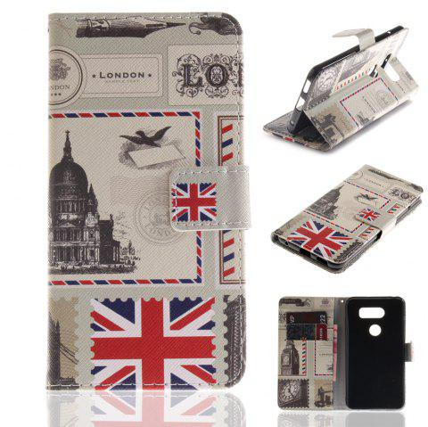 Cover Case for LG V30 Colourful Brackets PU Leather - WHITE / RED