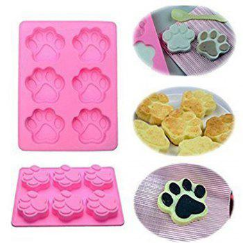 Silicone Dog Puppy Paw Footprint Candy Cake Chocolate Ice Cube Soap Jelly Mold Baking Pan Mould - PINK