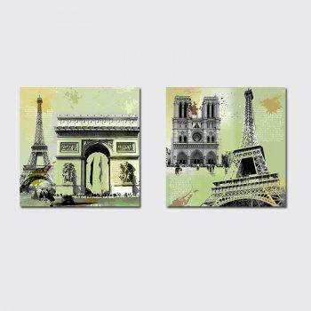 QiaoJiaHuaYuan Unframed Canvas Living Room Sofa Background Double - Link Painting of European and American Architecture - COLORMIX COLORMIX
