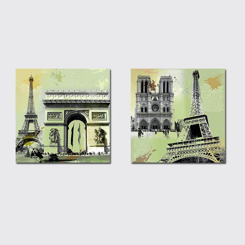 QiaoJiaHuaYuan Unframed Canvas Living Room Sofa Background Double - Link Painting of European and American Architecture - COLORMIX