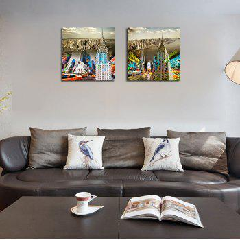 QiaoJiaHuaYuan No Frame Canvas Living Room Sofa Background Double - Link Painting of Urban Street View Decoration - COLORMIX