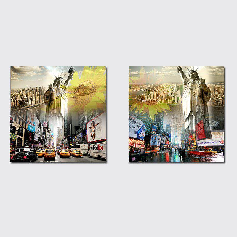 QiaoJiaHuaYuan No Frame Canvas Living Room Sofa Background Decorates The City Building Liberty Goddess - COLORMIX