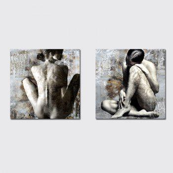 QiaoJiaHuaYuan No Frame Canvas Two Pieces of The Drawing Room Sofa Background Decorative Painting Naked Female Art pictu - COLORMIX COLORMIX