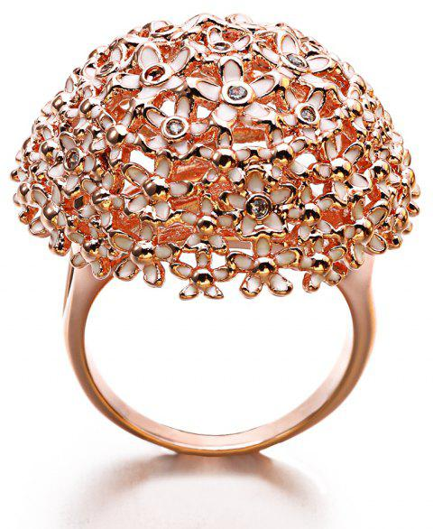 New Year Gift Plated Rose Gold Enamel Crystal Flower Rings - ROSE GOLD 7