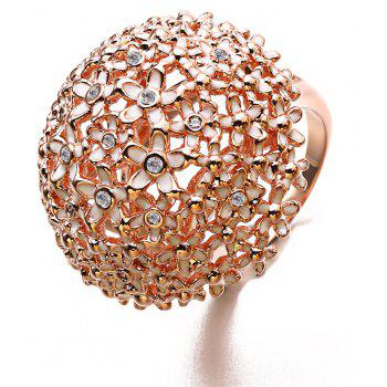 New Year Gift Plated Rose Gold Enamel Crystal Flower Rings - ROSE GOLD 9