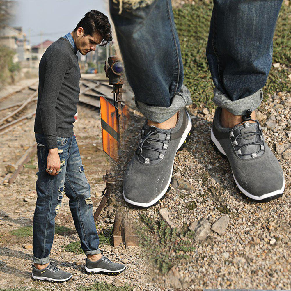 Men Casual Outdoor PU Leather Thick Sole Climbing Shoes - GRAY 43