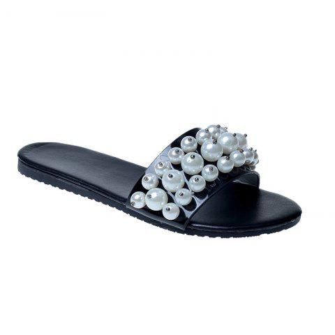 TY-805 Pearl Dew Toe Flat Bottom Antiskid Slippers - BLACK 37