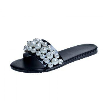 TY-805 Pearl Dew Toe Flat Bottom Antiskid Slippers - BLACK BLACK