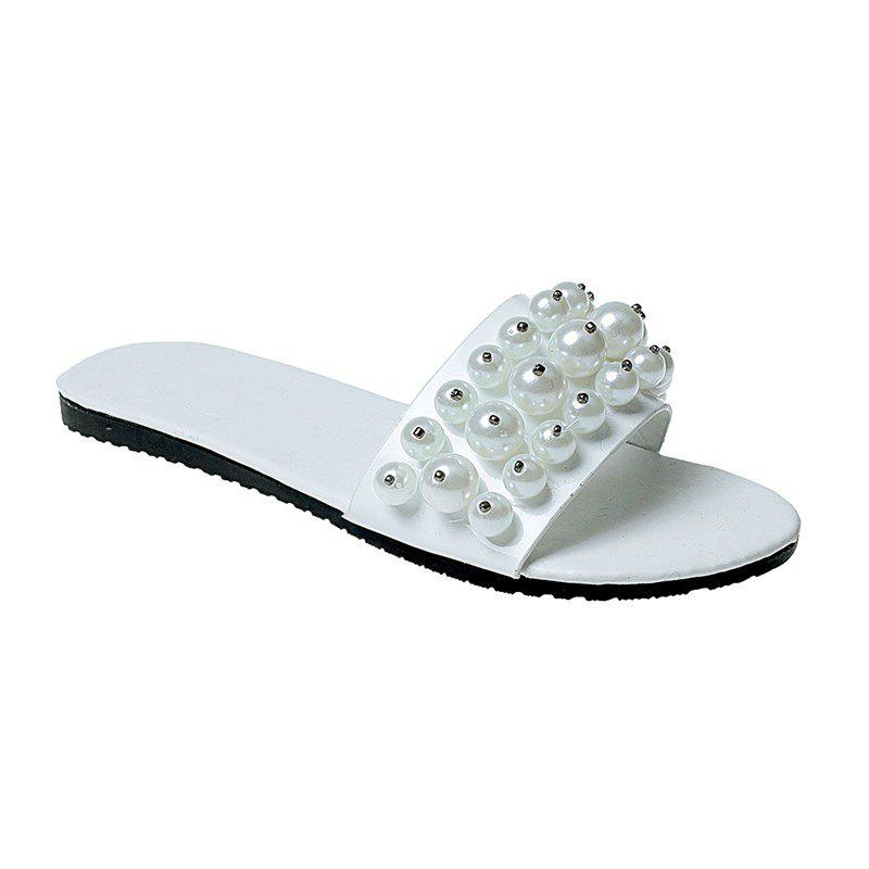 TY-805 Pearl Dew Toe Flat Bottom Antiskid Slippers - WHITE 37