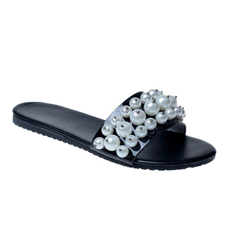 TY-805 Pearl Dew Toe Flat Bottom Antiskid Slippers - BLACK 38