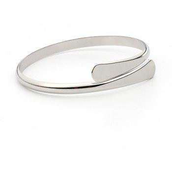 Fashion Simple Big-name Jewelry Smooth Open Copper Bracelet - SILVER